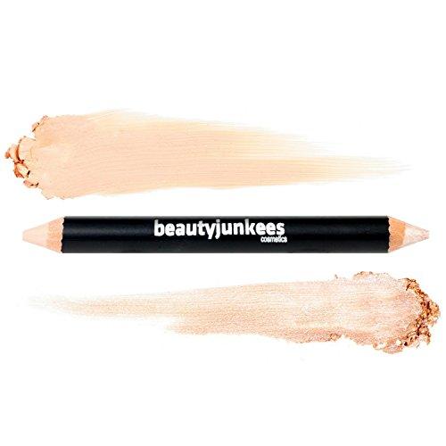 Eyebrow Concealer Highlighter Brightener Stick - Duo Pencil Crayon Eye Makeup, Creamy Matte Brow Shaper Definer, Shimmer for Highlighting Inner Corner, Gluten Paraben Cruelty Free, Cool Beige