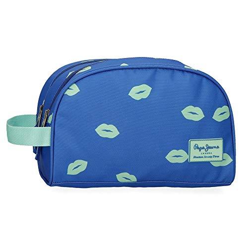 Pepe Jeans Ruth Trousse de toilette deux compartiments adaptable Bleu 26x16x12 cms Polyester