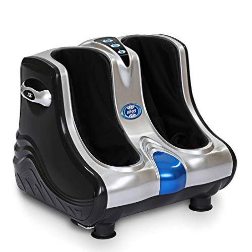 JSB HF05 Ultra Leg Massager for Foot & Calf Pain Relief with Human Hands Like Pressing, Heat, Vibration & Reflexology Rollers (White-Blue)