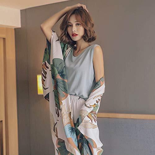 JFCDB Nachthemd Herfst Dames Pyjama Set Katoen Satijn 4 Stuks Set Vest + Vest + Broek + Shorts Bloemen Gedrukt Elegante Femme Tender Nachtkleding Homewear, Weergegeven als foto, XL