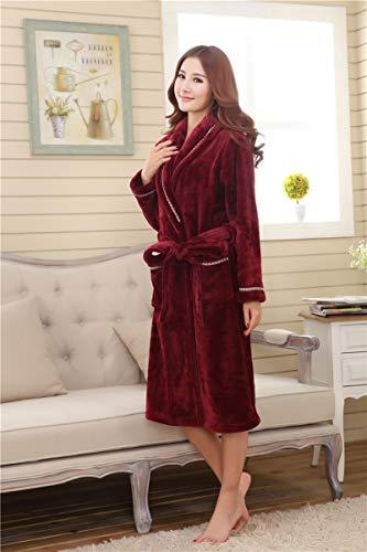 Honey WYJ pluche badjas dik en rekbaar 1 paar nachthemd van koraal voor badjas wijn rood flanel badjas badjas badjas