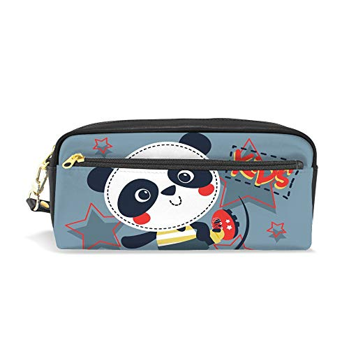 CHENHONG Pencil Case Printed Panda Play Soccer Soft Makeup Bags Leather Pouch Case Bag Cosmetic Accessories Bag for Women Girls