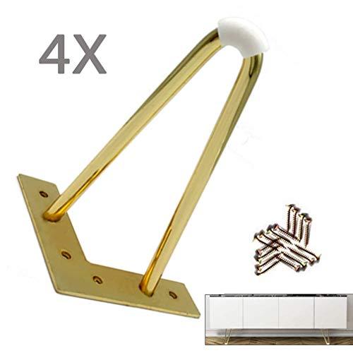 Yuany 4X haarspeld tafelpoten Heavy Duty DIY meubilair metalen tafelpoten, 2Rods kast kledingkast TV kasten laden voeten, met vrije schroeven & Protector voeten, goud (12cm / 4,7