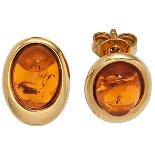 JOBO Ohrstecker 375 Gelbgold 2 Bernsteine Gold-Ohrringe