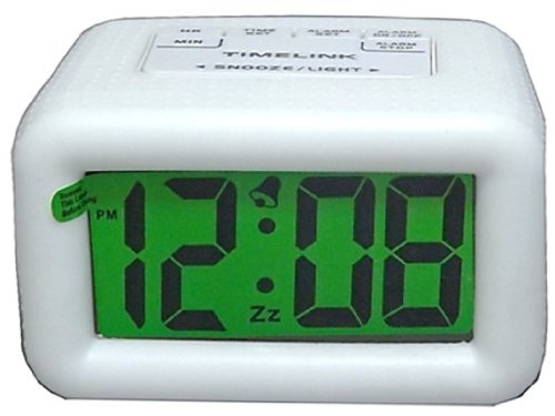 Timelink 88180-WHITE Large Display Digital LCD Alarm Clock w/ Rubber Casing