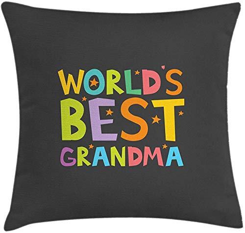 Funda de cojín para abuela, mejor cita de abuela con letras coloridas, estrellas en el fondo de escala de grises, funda de almohada decorativa cuadrada, 45,7 x 45,7 cm, multicolor