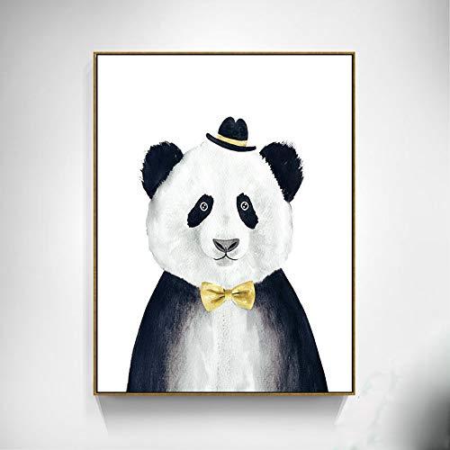 SDFSD Dibujos Animados Moda Cool Model Caballero Oso León Panda Animal Lindo Niños Habitación Dormitorio Decoración para el hogar Carteles Arte de la Pared Pintura de la Lona 50 * 70 cm