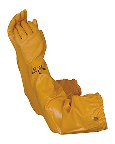 Atlas 772 Nitrile Coated Gloves 26 inch Long Cotton Lined, Chemical Resistant, Water, Pond, Work,...