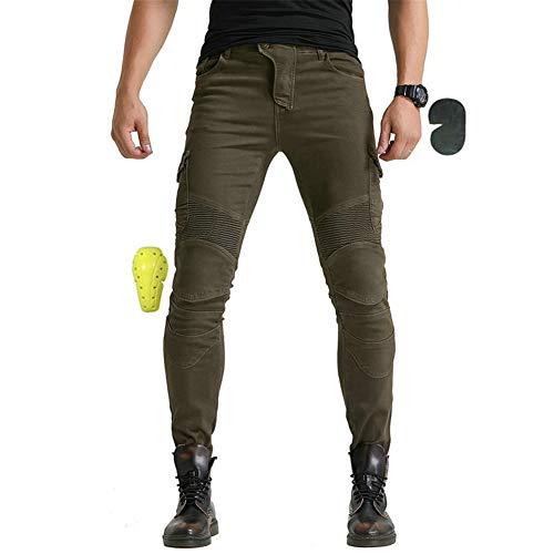 SHUOJIA Hombres Pantalones De Motociclismo Para Pantalones De Carreras De Motocross Con Pantalones Anti Caída,Jeans De Moto, 4 X Equipo De Protección (Green,L)