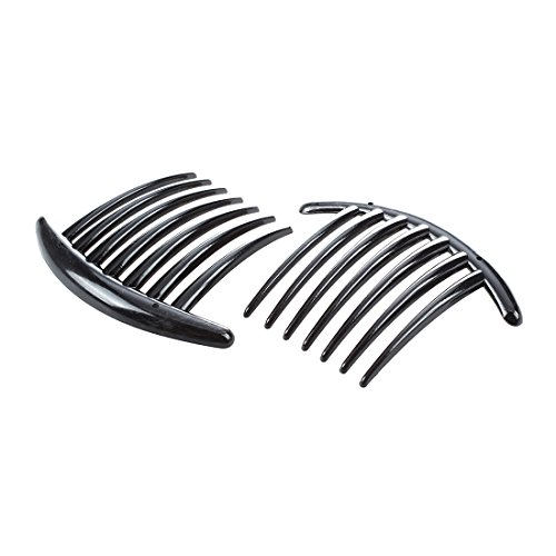 Gaetooely 2pcs Peigne Barrette Accessoires Plastique Dame Femmes Mode Noir