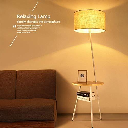 Tripod Staande lamp met houten End tafelkleed Drum Shade Lamp for slaapkamer Naast Table bank in de woonkamer leeslamp for Relax (Color : White)
