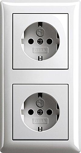 Komplett-Set Gira Standard 55 Abdeckrahmen, 2-fach - Reinweiß, glänzend mit 2x Steckdose, Kinderschutz -GIRA- -weiß-