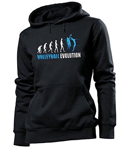 Volleyball Evolution Geburtstag Geschenke Damen Frauen Hoodie Pulli Sweatshirt Kapuzen Pullover Fan Fanartikel zubehör Bekleidung Oberteil Kleidung Outfit Spruch Fun witzig Artikel