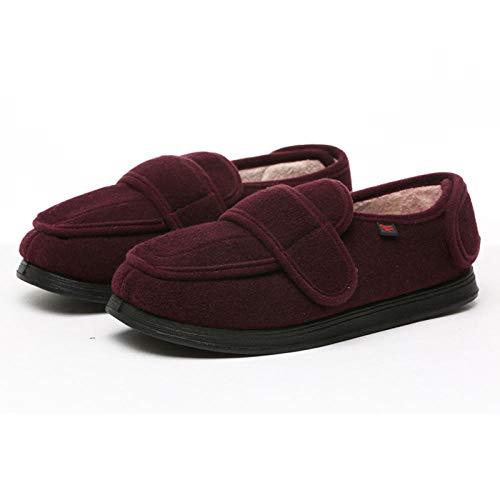 CCSSWW Zapatos DiabéTicos para Hombre Ajustable Calzado para Personas DiabéTicas Calzado Interior Antideslizante para DiabéTicos -Rojo_40