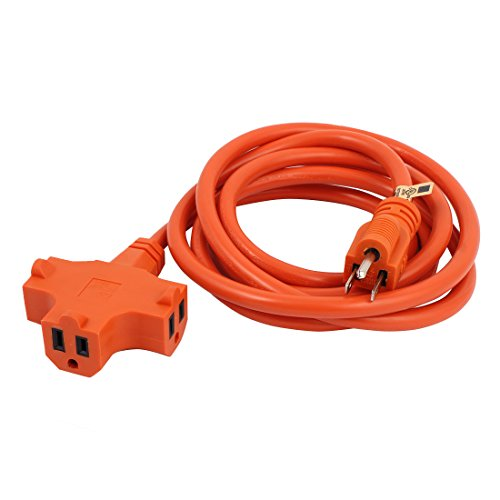 uxcell US Plug to 3 Outlets Power Extension Cord Wire 15A 12AWG SJTW 8Ft Orange Indoor Outdoor