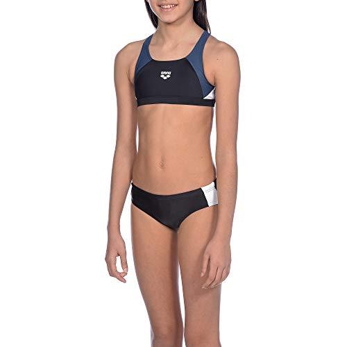 ARENA REN - Bikini Deportivo para niña (Secado rápido, protección UV UPF 50+, Resistente al Cloro y al Agua Salada), Niñas, 000994, Black-Shark-White, 128