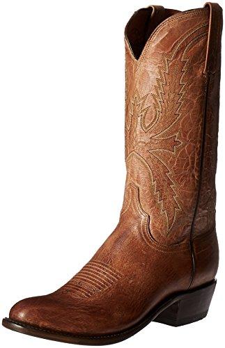 Lucchese Bootmaker Men's Crayton-tn Burn Md Goat Riding Boot, Tan Burnish, 9.5 D US