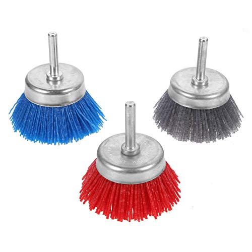 TEHAUX 3 peças de polimento para polimento de roda de polimento de escova de esfregão para esfregão de esfregão ferramenta de moagem para fixação de buffer de broca, vermelho, cinza, azul
