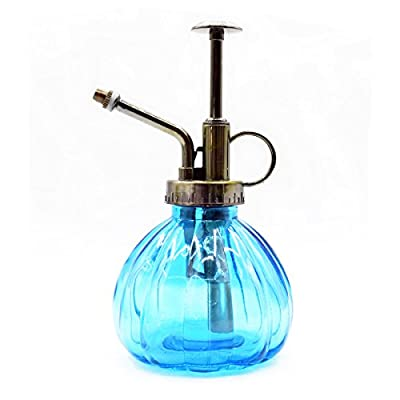 Lchen Ribbed Plant Mister Vintage Style Decorative Glass Bottle with Top Pump