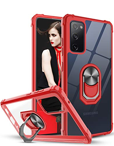 LeYi Hülle für Samsung Galaxy S20 FE 4G/5G, Ringhalter Schutzhülle Crystal Clear Acryl Cover Air Cushion Bumper Handy Hüllen für Hülle Samsung Galaxy S20 FE (Fan Edition) 4G/5G Handyhülle Rot