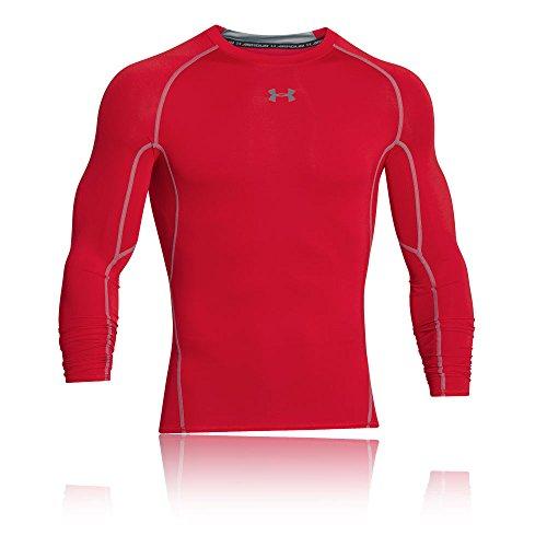 Under Armour Herren Kompressionsshirt HeatGear Armour langärmliges Funktionsshirt, atmungsaktives Langarmshirt für Männer, Rot, M