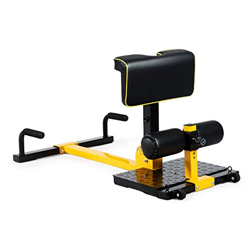 GYMAX Sissy Squat Machine, 8-in-1 Workout Machine with Adjustable Height & Protective Foam Push-up, Sit-up, Rope Exercise Machine for Strength Training, Home Gym (Black+Yellow)