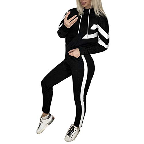 SDGF Damen Trainingsanzug Jogginganzug Sportanzug Fitness Kapuzen Hoodie 2 Stücke Set Outfit Sport Yoga Fitness Bodycon Slim Jogginganzug Langarmhemd Crop Top + Leggings