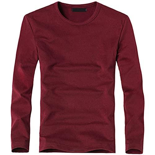 Camiseta elástica para hombre con cuello en V de manga larga de los hombres de la camiseta de algodón masculino Camisetas de hombre de la ropa de la camiseta, O vino tinto, XL