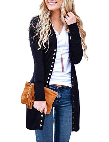 Halife Women's Classic Snap Button Front V Neck Long Sleeve Knit Cardigan Sweater Coat Black L