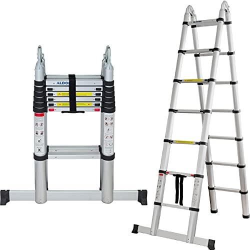 ALDORR 4,40M Escaleras de Aluminio Extensible Multiusos | Escalera Plegable Telescópica | Máximo 150kg | Cierre Suave (EN131)