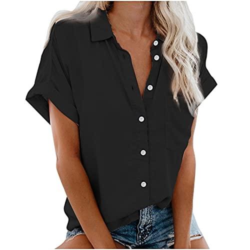 LalalukaOberteileDamenTShirtRevers Tasten Taschen Lassige BluseSommer Frauen OberteilTshirt T-ShirtBlusenTunikaTopBluseshirtT-ShirtHemdLongshirtKurzarmshirt