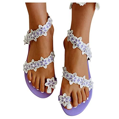 Aniywn Women's Sandals Flat Clip Toe Casual Lace Floral Beach Flip Flop Comfy Shoes Summer Toe Ring Roman Sandals