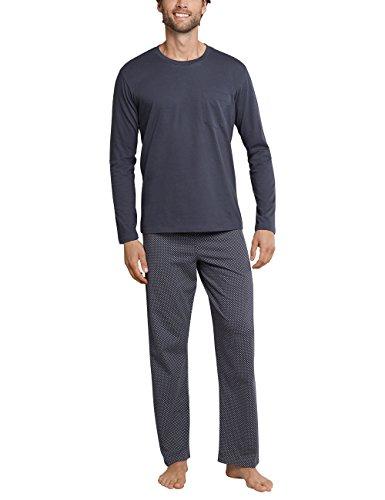Schiesser Herren Schlafanzug lang Rundhals, Grau (Anthrazit 203), 98 (Herstellergröße: 98/LS)