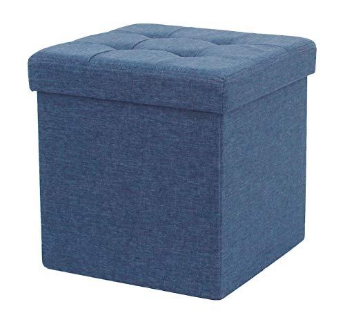 D&D Quality Puff Almacenaje Plegable, Asiento Acolchado, 38 x 38 x 38 cm - Exterior Tapizado Estilo Lino - Caja Almacenamiento Cuadrada (Azul Marino)