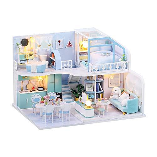 chiwanji Casa de Muñecas en Miniatura de Bricolaje Casa de Creativa con Regalo de Festival de Muebles