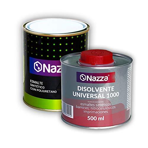 Pack AHORRO Esmalte Poliuretano Sintético + Disolvente | Color Negro | 750 ml | Acabado Brillante
