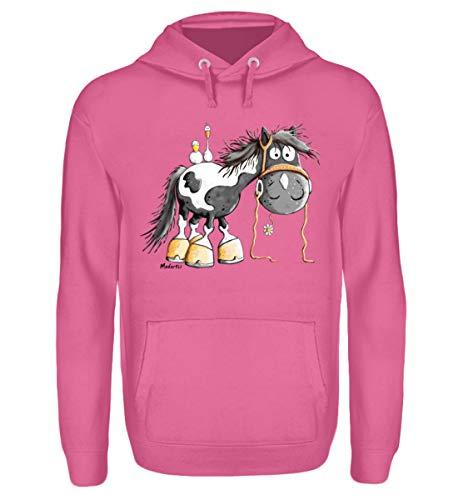 Happy Pinto Pferd Comic I Schecke Tinker I Modartis Pferde I Pony I Reiter Geschenk - Unisex Kapuzenpullover Hoodie -S-Candyfloss Pink