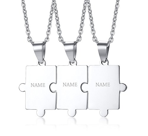 Mealguet Jewelry Personalized Customized Stainless Steel Matching Puzzle Piece Charm Best Friend Friendship BFF Puzzle Necklace for 3