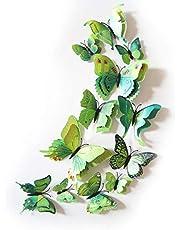 زينة حائط على شكل فراشات ثلاثية الابعاد - بلون اخضر-GF-137