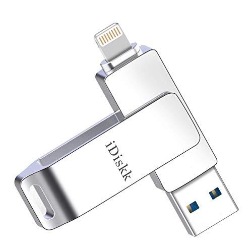 MFi Zertifizierter iDiskk 64GB USB Stick für iPhone Memory Lightning Photostick für iPad, Speichererweiterung kompatibel mit iPhone11Pro / X/XS/XR / 5/6/7/8 / iPad Pro iOS 13 Computer Mac Laptop PC