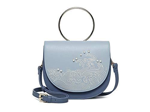 HQQ Wave Style, Metall-Ring-Handtasche, Pferd Satteltasche, Skew Damentasche, Bestickt, hellblau