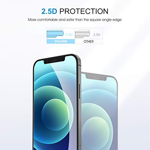 SPARIN Schutzfolie kompatibel mit iPhone 12 Mini 5,4 zoll, 4 Stück Panzerglasfolie mit Positionierhilfe, Blasenfrei