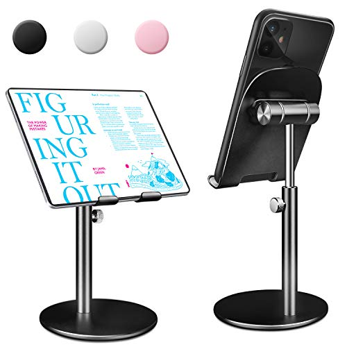 Swhatty Cell Phone Tablet Stand, Angle Height Adjustable Sturdy All Aluminum Alloy Stable Phone Holder for Desk, Compatible with Mobile Phone/iPad/Kindle/Tablet 4.7'-12.6' Screen (Black)