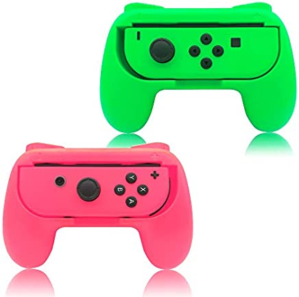 Grips for Nintendo Switch Joy-Con,FYOUNG Controllers for Nintendo Switch Joy Con - Green and Pink (2 Packs)