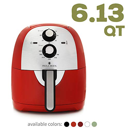 Paula Deen 6.13 QT (1700 Watt) XL Air Fryer, Rapid Air Circulation System, Single Basket System, GranIT Ceramic Non-Stick Coating, Simple Knob Controls, 11 Recipes, Oil-less Cooking (Red)