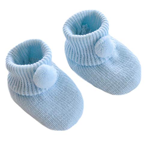 Mansuri Soft Touch Baby Boys Girls 1 Pair Pom Pom Baby Booties Newborn-3 Months Approx S408 (Blue)