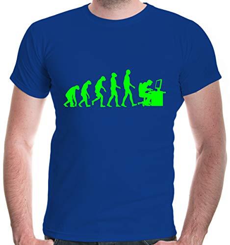 buXsbaum® Herren Unisex Kurzarm T-Shirt Bedruckt Evolution of Computer Scientist | Wissenschaftler PC IT | XXL royal-Neongreen Blau