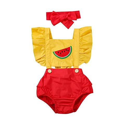 MAHUAOYIXI Pagliacetto con Motivo di Anguria Bambina Tutina Neonata Senza Maniche con Balza Vestiti +Fascia Neonata (Giallo-Rosso, 0-6 Mesi)