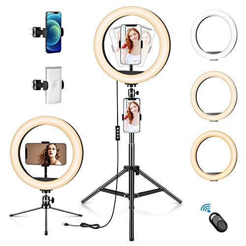Emuni 10' Ring Light Anneau de lumière en LED avec trépieds, 3 Modes d'éclairage 10 Niveaux de lumières, Support de téléphone pour Vlogs Streaming en Direct Youtube Maquillage Selfie (2 x trépieds)