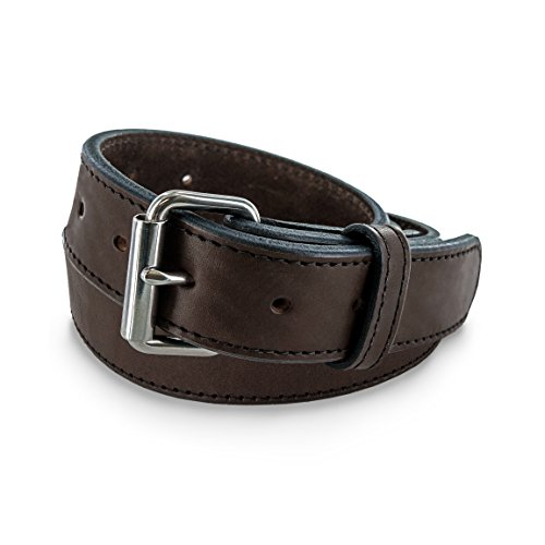 Hanks Extreme - Leather Gun Belt for CCW - Concealed Carry - 17oz. Premium Leather Belt - Made in USA - 100-Year Warranty - Brown - Size 32